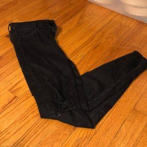 HOLLISTER HIGH WAISTED black jeans w/ holes @ knee